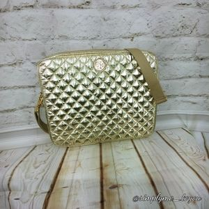 Tory Burch Bags - Tory Burch Gold Quilted Laptop Bag